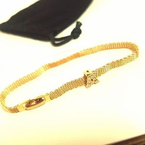 "Monet Gold Tone Bracelet w/ Embellished ""A"" Charm"